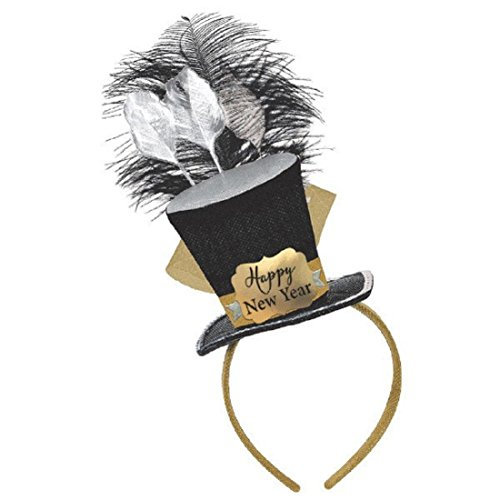[Amscan Mens Happy New Year Top Hat Fascinator Headband One Size - 1/pkg.] (Happy New Year Costumes)