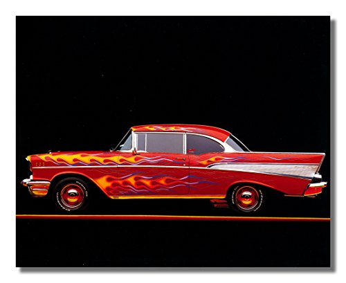 1957 Red Flame Chevy Bel Air Car Wall Picture 16x20 Art Print