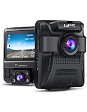 """Crosstour Dash Cam 1080P FHD Mini In Car Camera with 1.5"""" LCD Screen 170°Wide Angle, Paking Mode, Motion Detection, G-sensor, Loop-recording and WDR"""