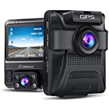 Uber Dual Lens Dash Cam Built-in GPS in Car Dashboard Camera Crosstour 1080P Front and 720P Inside with Parking Monitoring, Infrared Night Vision, Motion Detection, G-Sensor and WDR