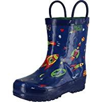 Pluie Pluie Blue Outerspace Rocket Toddler Little Boys Rain Boots 5-2