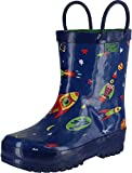 Pluie Pluie Boys Rocket Print Fashion Rainboots,Navy Rocket Print,11