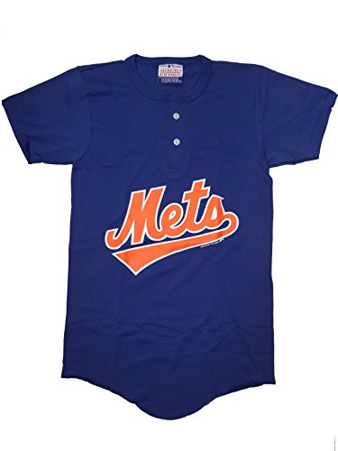 Majestic New York Mets Youth Blue Wordmark Button-Up T-shirt X-Large 18-20 ()