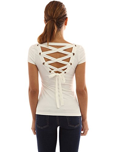 PattyBoutik Women's Scoop Neck Lace Up Back Blouse (Ivory M) - Scoop Back Top