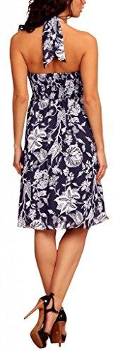 MY EVENING DRESS - Vestido - cuello hálter - Floral - Sin mangas - para mujer Dark Blue with White Flowers