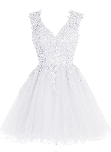 JAEDEN V Neck Short Cocktail Dresses Appliqued Lace Homecoming Dress Mini Prom Gown Tulle White US16W (Poofy Dresses)