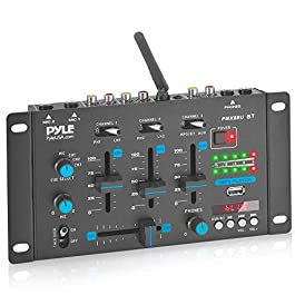 Wireless DJ Audio Mixer – 3 Channel Bluetooth Compatible DJ Controller Sound Mixer, Mic-Talkover, USB Reader, Dual RCA…