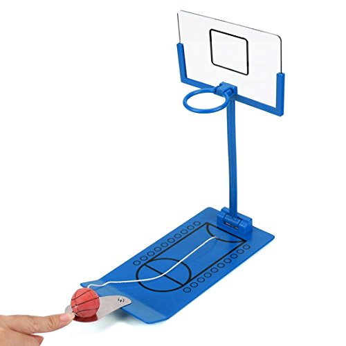 Face Off Air Hockey Tabletop (Mini Foldable Tabletop Spring Loaded Basketball Game Decompression Desktop Toy Iusun Indoor Outdoor Fun Sports Novelty Toy or Gag Gift Idea (Blue))