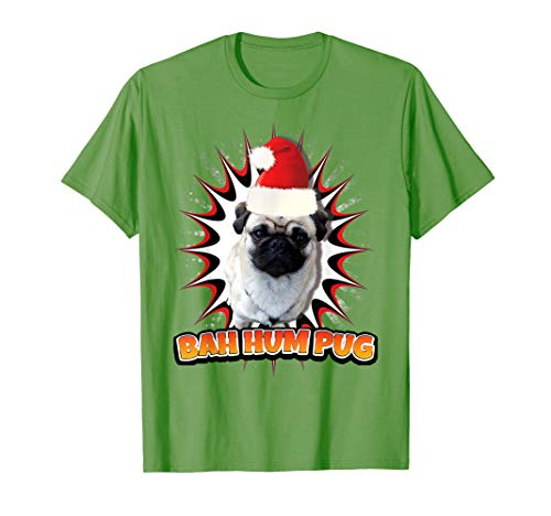Cristmass Tree Shirts: Bah Hum Pug in Santa#039s Red Hat TShirt