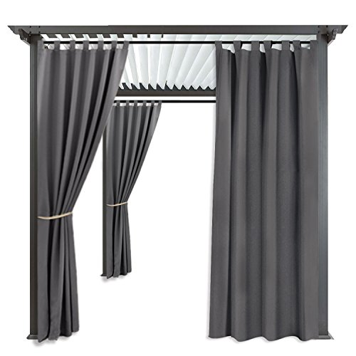 RYB HOME Balcony Curtains Outdoor - Portable Patio Blackout Shades Window Treatment Tab Top Waterproof Windproof Outdoor Indoor Privacy Curtain Drape, 1 Panel, Wide 52 by Long 84 Inch, Grey by RYB HOME