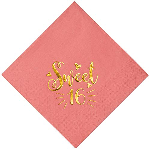 Crisky Decorative Paper Napkin Metallic Gold Foil Sweet 16 Stamp Cheers for 16th Birthday Anniversary Party Table Decoration at Dinner or Lunch Dessert【Coral Pink, 50PCS, 3-ply】 ()