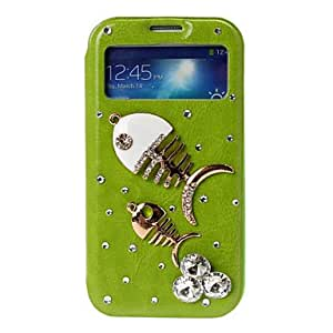 Mini - 3D DIY Fish Bones with Rhinestone Pattern Leather Case with Holder for Samsung Galaxy S4 i9500