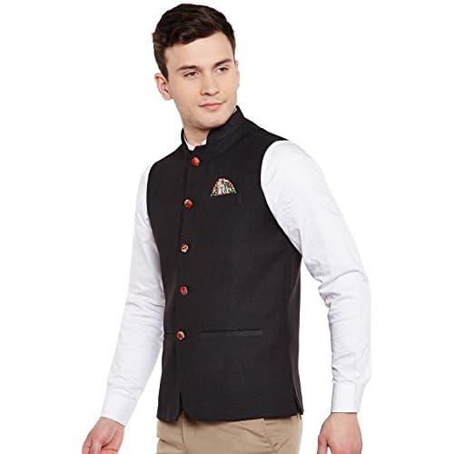41xDSzfjMTL. SS500  - Wintage Men's Linen Blend Grandad Nehru Jacket Vest Waistcoat