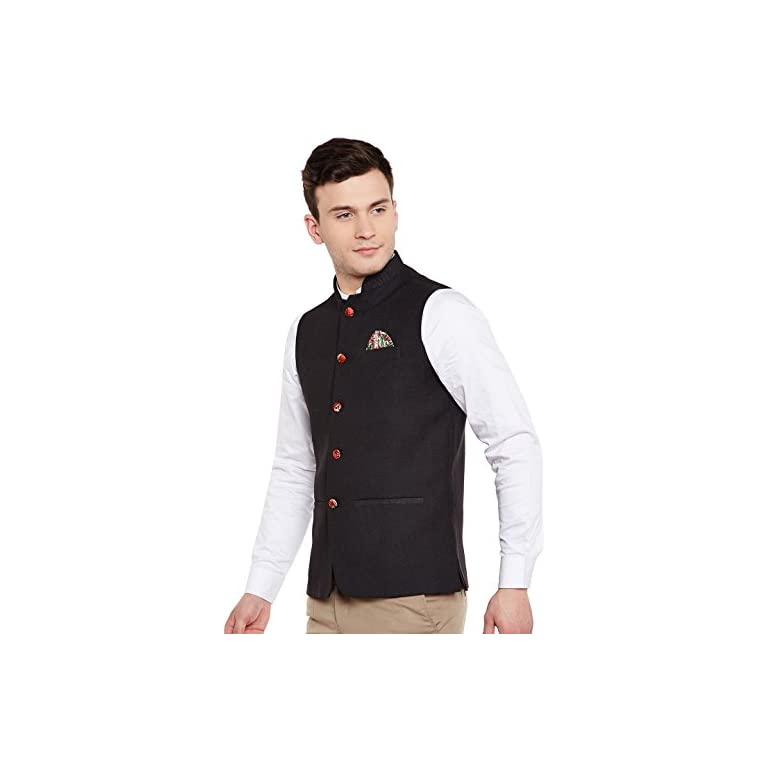 41xDSzfjMTL. SS768  - WINTAGE Men's Linen Blend Grandad Nehru Jacket Vest Waistcoat