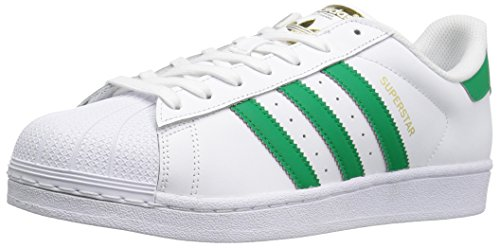 adidas Originals Men's Shoes | Superstar Foundation Fashion Sneakers -, White/Fairway/Metallic/Gold, (9 M US)