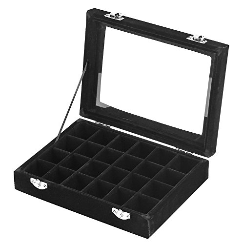 MeJell 24 Slot Velvet Glass Jewelry Box Organizer Rings Earrings Tray Display Storage (Slot Earring)