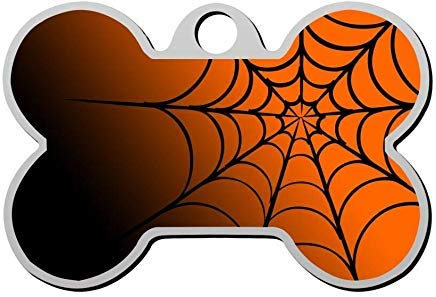 Halloween Spider Web Personalized Pet Id Tag,Cute Bone Dog ID Tag,Pet Identification Tag,Gifts for Pet Lovers]()