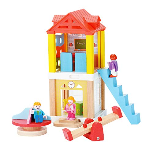 KAJA Pretend Play Doll House with Furniture and People Train Track Accessory Combinable DIY House for Children Kids (School Play Set)