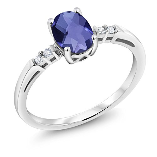 14K White Gold 0.68 Ct Oval Checkerboard Blue Iolite White Diamond Ring ()