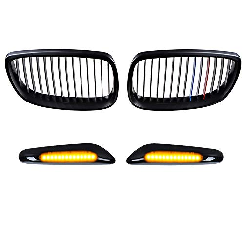 Astra Depot Matte M-Color Black Single Line Kidney Grille and Amber 2538 SMD LED Smoked Turn Signal Light Compatible with BMW 2007-2010 E92 E93 2-Door Pre-Facelift Coupe Convertible -