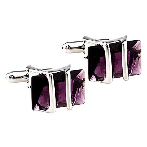 Daptsy Luxury Exquisite Purple Zircon Cufflinks for Men French Fashion Bullet Cufflinks