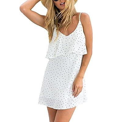 Women Dress Simple Polka Dot A-Line Skirt Ruffled V-Neck Halter Sling Sweet Dress