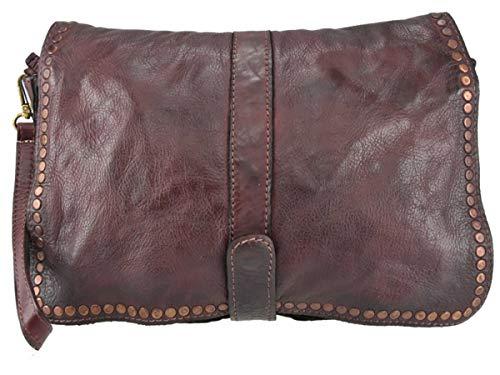 Superflybags Sac à main / embrayage Sac à main en cuir véritable modèle tressé Vintage Carmelita Made Italy Bordeaux