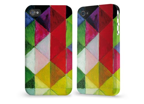 "Hülle / Case / Cover für iPhone 4 und 4s - ""farbige Karos"" by August Macke"