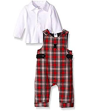 Baby Boys' Bear Plaid Overall Set