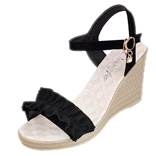 ◕‿◕Water◕‿◕ Women Peep Toe Wedge Sandals, Buckle Strap Wedges Sandals Ruffles Peep Toe Sandals Fish Mouth Sandals Black ()