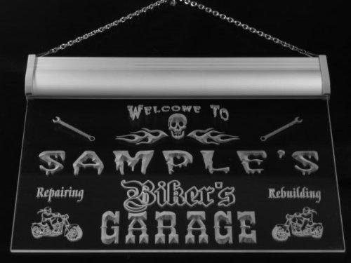 qu1107-g Woods Biker's Garage Motorcycle Repair Beer Neon Bar Sign by AdvPro Name (Image #2)