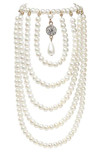 BABEYOND 1920s Pearl Shoulder Chain for Evening Party Gatsby Imitation Pearl Body Chain for Flapper Costume (White)