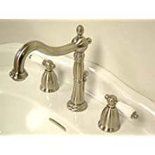 Kingston Brass KB1978PL Heritage Widespread Lavatory Faucet with Porcelain Lever Handle, Satin Nickel