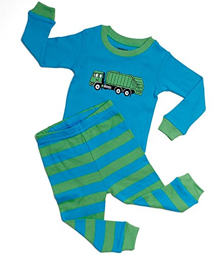 "Leveret Boys ""Garbage Truck"" 2 Piece Pajama 100% Cotton (6M-14 Years)"