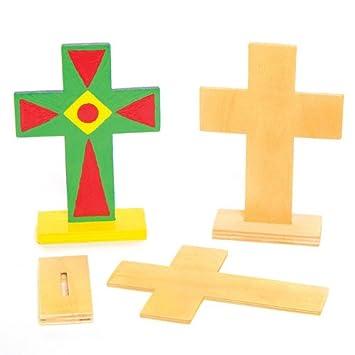 Cruces De Madera Con Soporte Que Los Niños Pueden Pintar Y