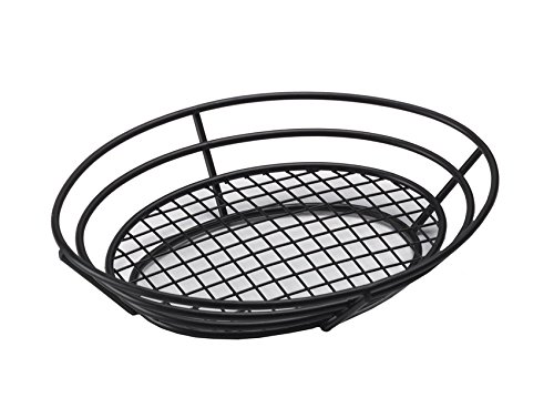 G.E.T. Enterprises Black Oval Metal Wire Basket Iron Powder Coated Wire Baskets Collection 4-38814 (Pack of 1)