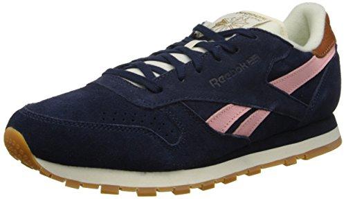 Reebok Women's CL Leather Suede Shoe,Collegiate Navy/Patina Pink/Cream White/Brass,6.5 M US