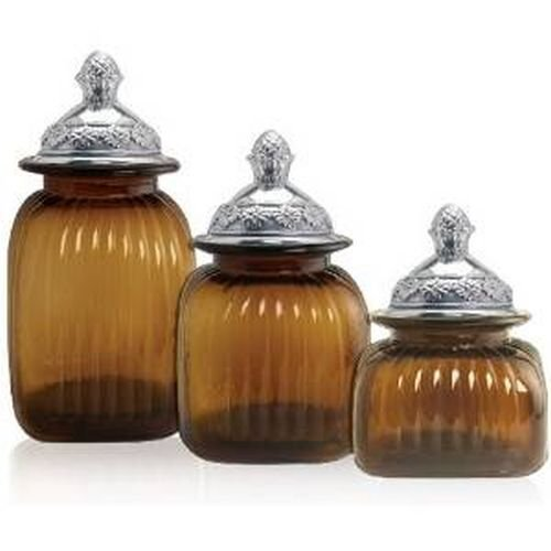 Canisters 3-Piece Set with Mayfair Lid in Amber