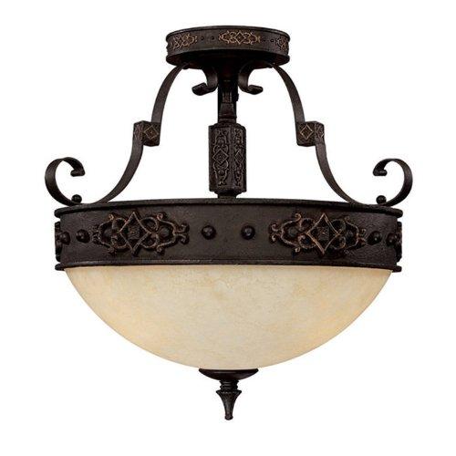 Capital Lighting 3603RI Semi-Flush Mount with Rust Scavo Glass Shades, Rustic Iron Finish (19 Semi Flush)