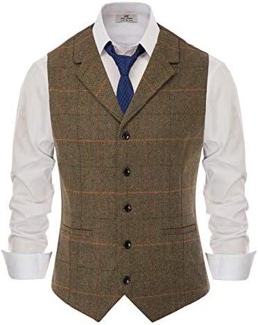 PJ PAUL JONES Men`s Slim Fit Herringbone Tweed Suits Vest Wool Blend Waistcoat