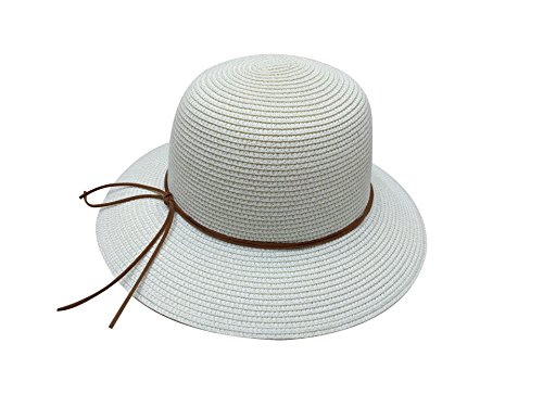 Woman Hat latteo bianco Acvip Straw Edge Sun Capeline Wide Sea Holiday SROqdgH