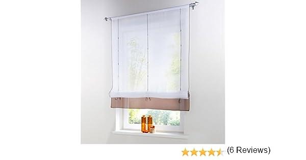 Sundautumn - Visillos con trabilla ajustable mediante cinta, para decoración de salón, dormitorio o cocina moderna (color marrón:60 x 155 cm), poliéster, marrón, C : 100x155: Amazon.es: Hogar