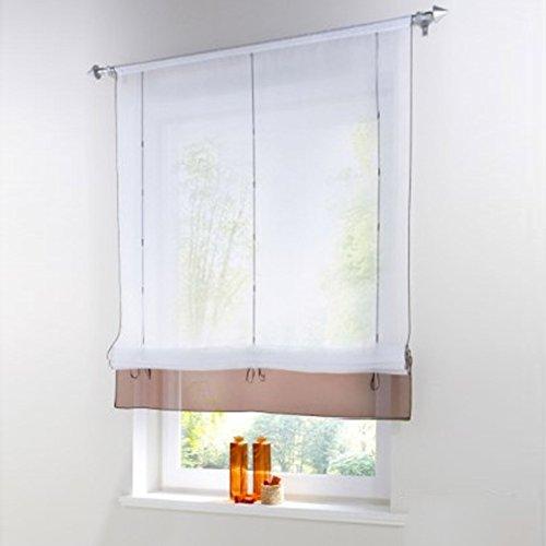 Sundautumn Vorhänge Gardinen Fenster Roman In Gürtelschlaufe Verstellbar  Mit Band Dekor Für Wohnzimmer Und Moderne Küche (Kaffee: 60 X 155),  Polyester, ...