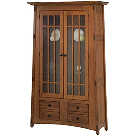 Amish Heirlooms McCoy Solid Oak Bookcase With Clear Glass Doors 16 5 By 46 By 76 5 Black Walnut