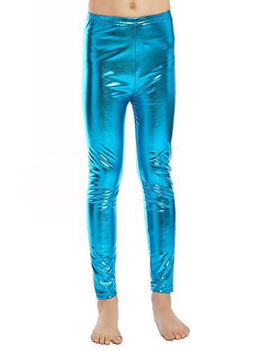 Aaronano Little Girls' Metallic Color Shiny Stretch Leggings Size S(3T-4T) Light Blue (Blue Shiny)