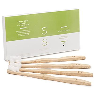 Small Seed Natural Manual Bamboo Toothbrush, Adult Medium 4-Pack 100% BPA Free Eco Friendly Biodegradable Zero Waste Brush