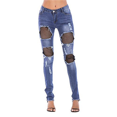 Mujer para Encaje L de Mezclilla Blue Pantalones deshilachados Blue Isbxn Size Color de 0YUwq