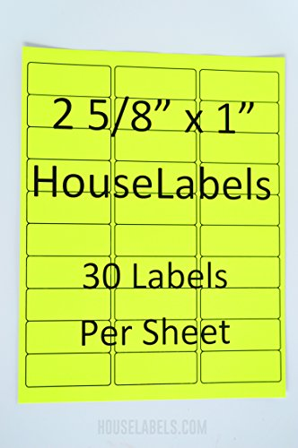 "25 Sheets; 750 Labels, 30-UP, NEON FLUORESCENT YELLOW Address Labels (1"" x 2-5/8"") -- BPA Free!"