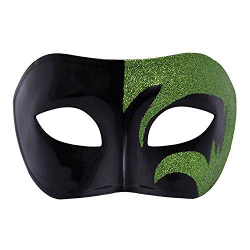 Mystic Green Glitter & Black Venetian Masquerade Mask ~ Mardi Gras Prom ()