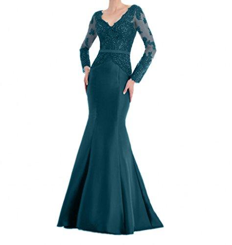 mit Damen Charmant Jugendweihe Royal Etuikleider Langes Ballkleider Kleider Langarm Blau Brautmutterkleider Abendkleider 8dOrawgqO